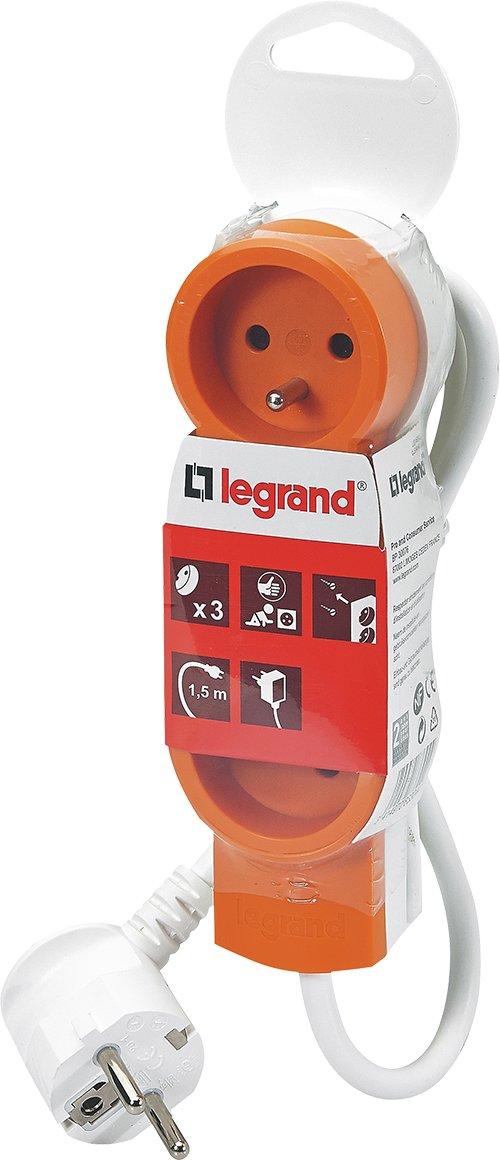 Legrand LEG50030 Rallonge multiprise standard 3 prises 2 p/ôles avec terre et cordon de 1,5 m Bleu