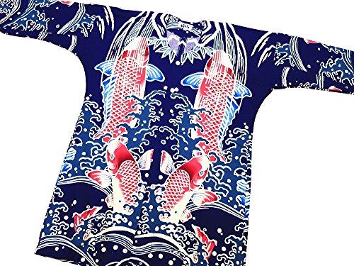 歌より平らな心のこもった【鯉の滝昇り?紺紫】 東京いろはオリジナルの鯉口シャツ 男女兼用 (LL 特大サイズ)
