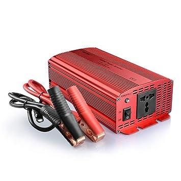 Bestek MRI10013 Inversor de Corriente 1000W 12V a 220V para Coche con 1 Enchufe Universal y Pinzas de Cocodrilo, Onda Modificada