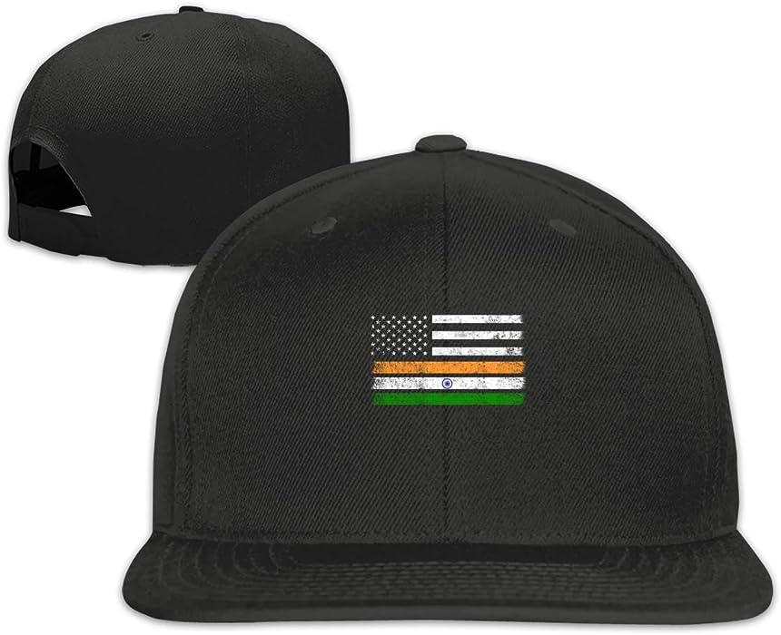 67f46f4ee24 Arsmt American Flag India Flag Flat Bill Baseball Cap Adjustable Snapback  Hats Unisex Black