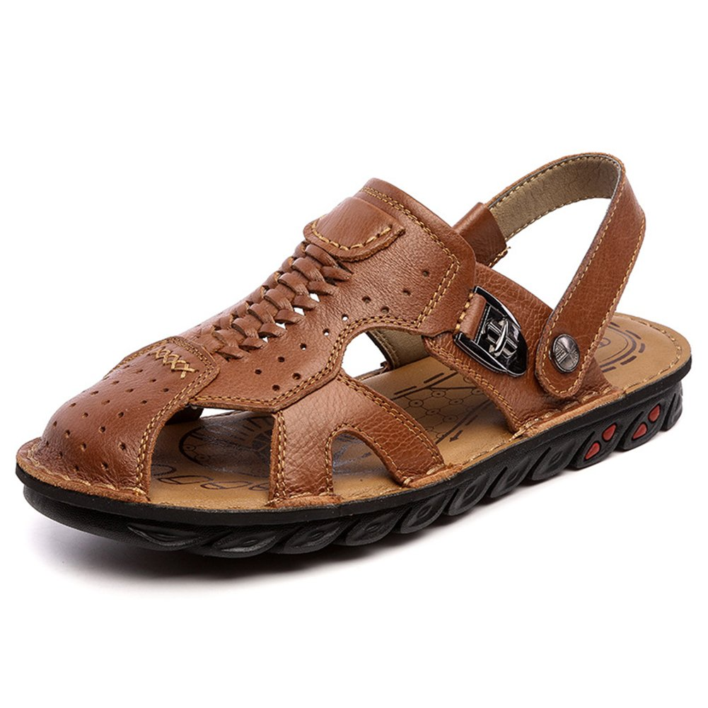 Navoku Men's Closed Toe Leather Casual Summer Sandals Brown 42 8.5 D(M) US