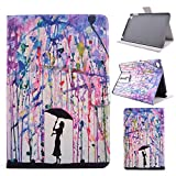 Yakamoz Folio Case for iPad Mini 4 Umbrella Girl Wall Painting Slim-Fit Leather Stand Case Flip Smart Cover with Free Stylus Pen