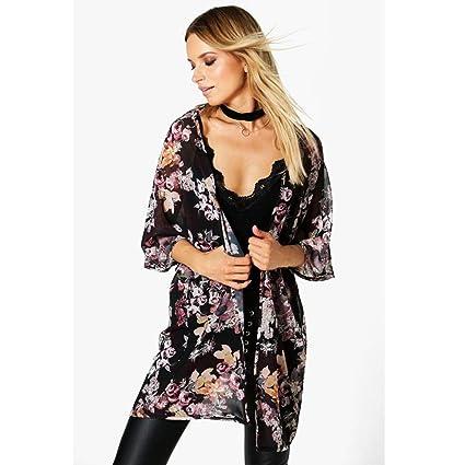 DEELIN Rebeca del Kimono De La Gasa del Kimono De La ImpresióN De La Flor del Verano De Las Mujeres Capa Larga De La Camisa del MantóN del TamañO Grande: ...
