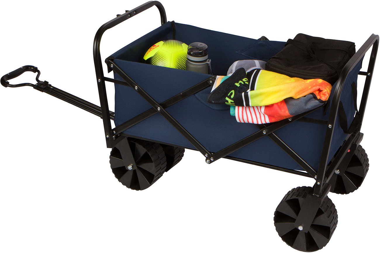 31'' Collapsible Folding All Terrain Beach Cart Wagon with Cover by Trademark Innovations
