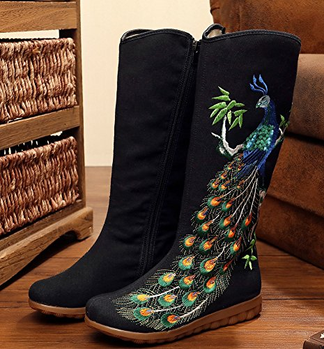 Avacostume Vrouwen Pauw Borduurwerk Pailletten Oxford Flats Hoge Laarzen Zwart