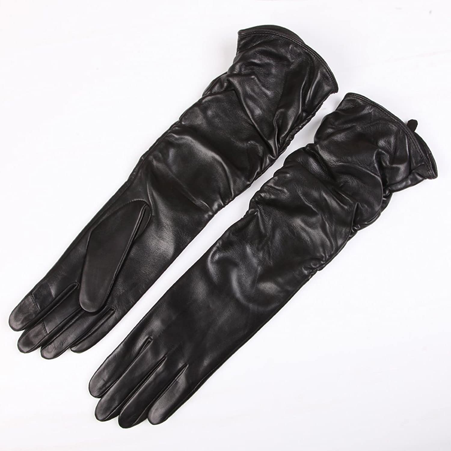 Womens leather smartphone gloves - Warmen Winter Fleece Lined Ruched Elbow Length Long Evening Dress Leather Gloves 6 5 Black Touchscreen Function At Amazon Women S Clothing Store