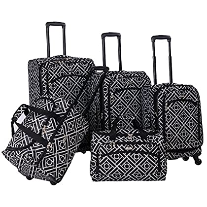 Image of American Flyer Astor 5-Piece Spinner Luggage Set, Black/White, One Size