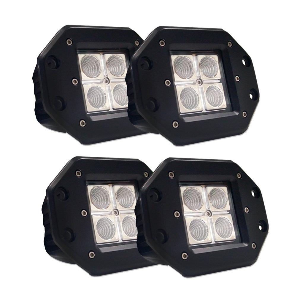 Easynew 4PCS 16W CREE Flood LED Work Light LED Pods Cube Lights Driving Lights Led Light Bar Off Road Led Lights Flush Mount IP68 Waterproof Super Bright 5559041071 LED Light Bar