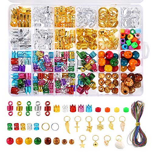 PP OPOUNT 410 Pieces Dreadlocks Beads DIY Hair Braid Accessories with Braid Rings Hair Hoops, Hair Clips, Wood Beads and colorful Metallic Cord for Hair Decoration