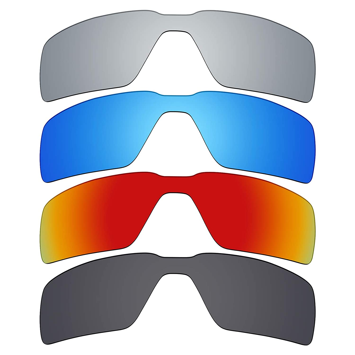 f7c021cfa4e5a Amazon.com  Mryok 4 Pair Polarized Replacement Lenses for Oakley Probation  Sunglass - Stealth Black Fire Red Ice Blue Silver Titanium  Clothing