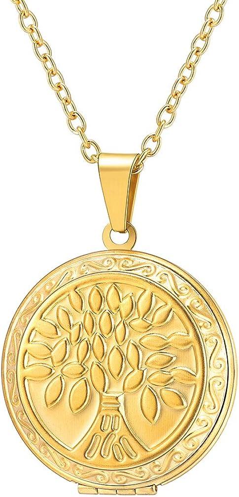 PROSTEEL Collar de Guardapelo Hombre Mujer Colgante del Árbol de la Vida con Cadena Rolo Acero Inoxidable/Chapado en Oro/en Oro Rosado