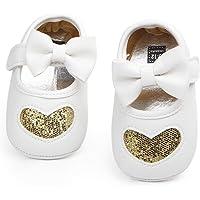 Nagodu Shoes Zapato para Bebe niña Blancos con un moño Blanco y un Corazon Dorado con brillitos de Imitacion Piel, Hermosos Varias Medidas