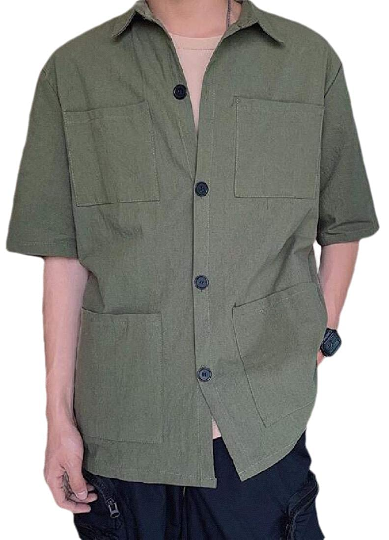 pipigo Men Solid Color 1//2 Sleeve Multi-Pockets Plus Size Summer Cargo Shirt