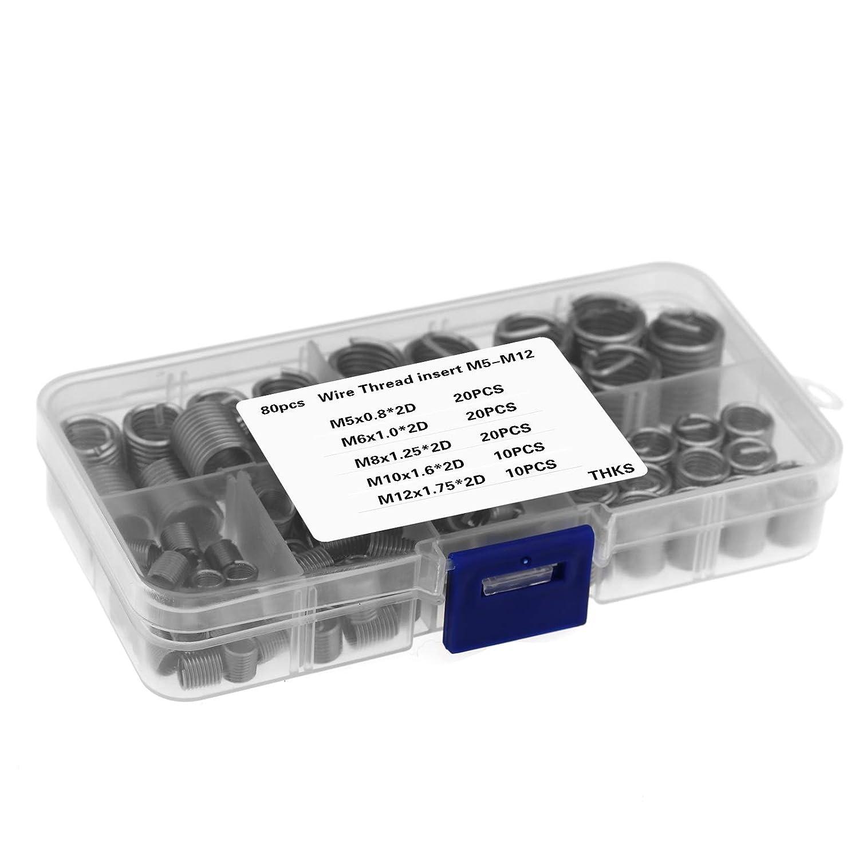 OTOTEC 80pcs M5 M6 M8 M10 M12 en Acier Inoxydable Helicoil Fil Filetage Vis Inserts Assortiment Outil de R/éparation Helicoil Attaches Mat/ériel Kit
