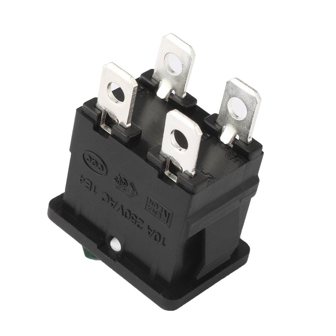 uxcell/® 2Pcs DPST On Off 4Pin ON//Off Green LED Light Boat Lights Rocker Switch Push Button Switch AC 20A//125V 22A//250V
