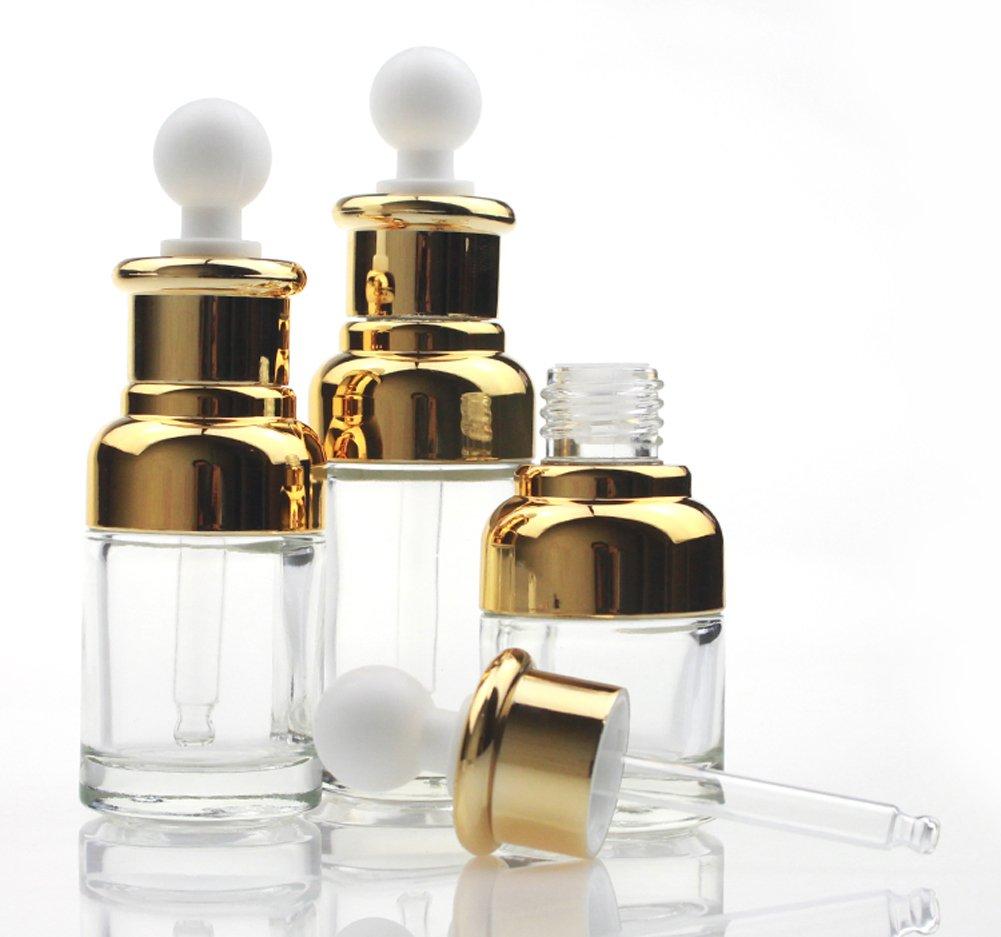 1pcs 30 ml/50 ml cuentagotas botella de aceite esencial de cristal transparente vací a de escala, rellenable, Elite lí quido cosmé ticos Jar Pot Container Vial De Botellas con cristal pipeta cuentagotas Elandy