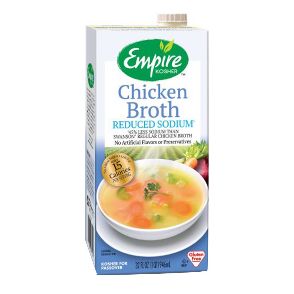 Empire Kosher Poultry Chicken Broth Reduced Sodium, 32 Fluid Ounce