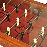 Foosball Soccer Game Wooden Coffee Table with Tempered Glass Tabletop