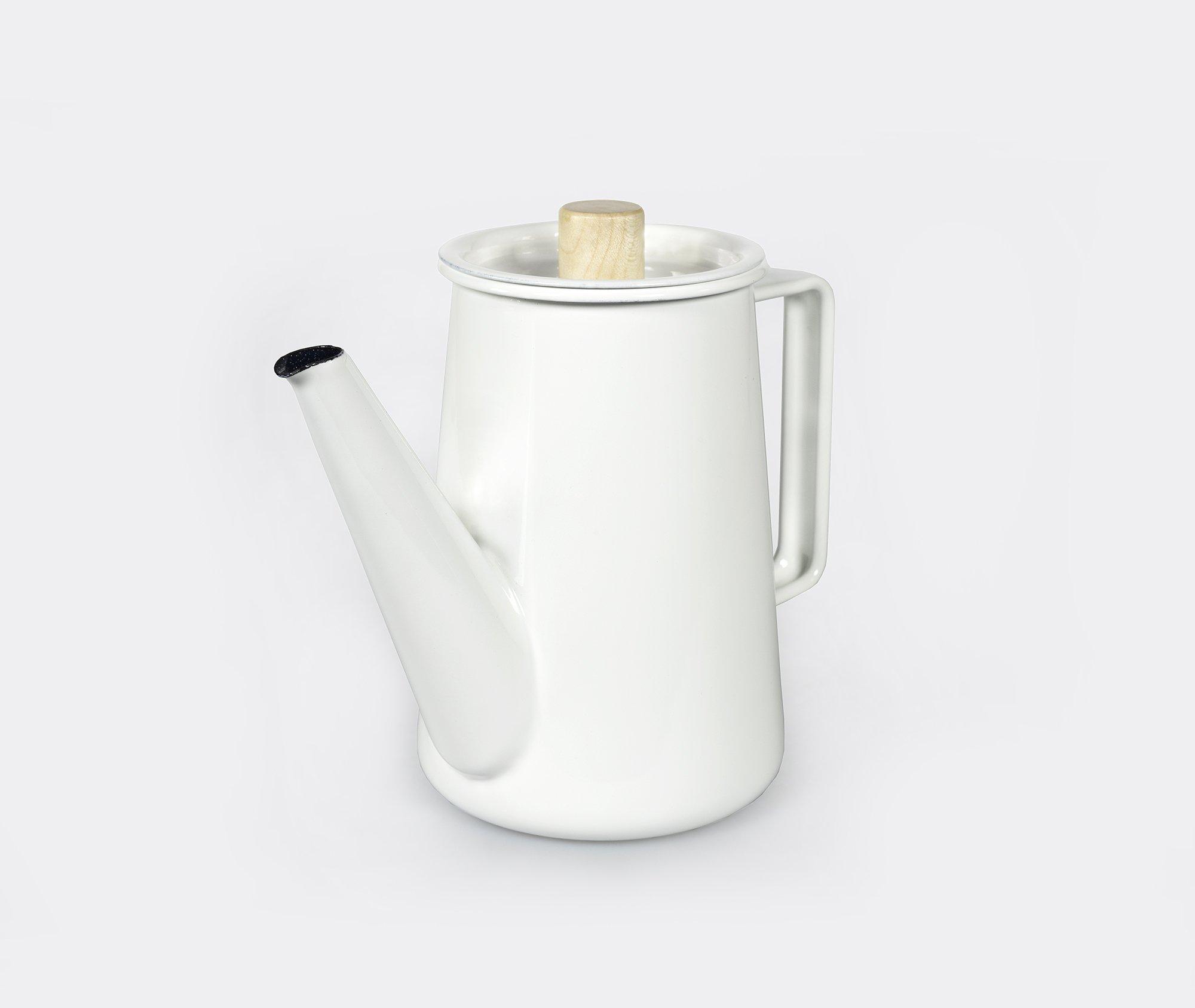 Kaico Japanese White Enamelware Coffee Pot from Koizumi Studio - Good Design Award Winner