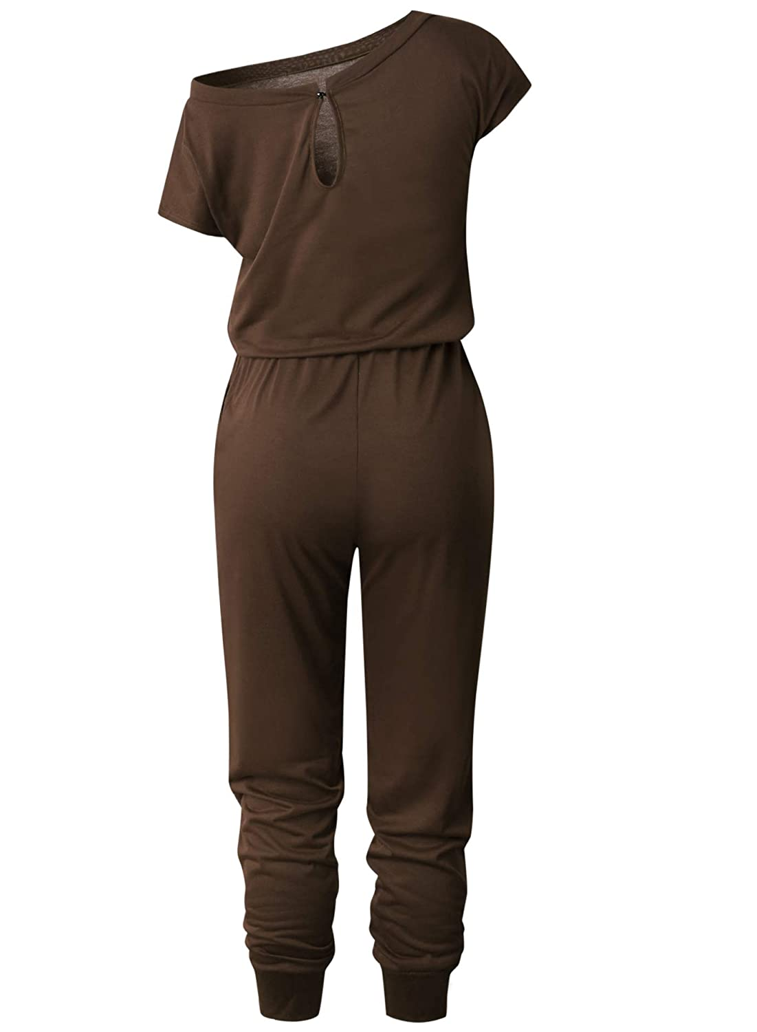 PRETTYGARDEN Womens Loose Solid Off Shoulder Elastic Waist Stretchy Long Romper Jumpsuit with Pockets
