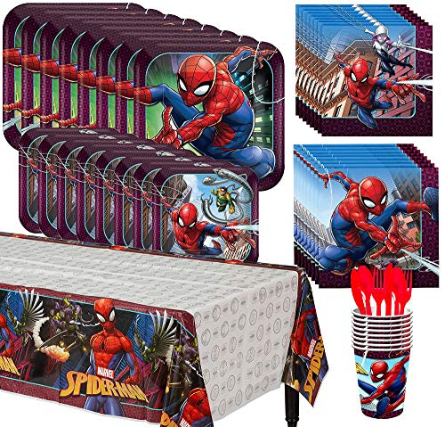 Party City Spider-Man Complete Tableware Kit for 8 Guests, 81 Pieces, Includes Plates, Napkins, Cups, and Table - 8 Party Guest Kit
