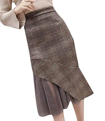 H&E Falda de lápiz, de Malla, a Cuadros, para Mujer, Ajustada Gris ...