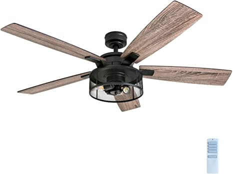Amazon Com Honeywell Ceiling Fans 50614 01 Carnegie Led Ceiling Fan 52 Indoor Rustic Barnwood Blades Industrial Cage Light Matte Black Home Improvement