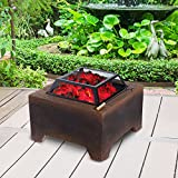 NEW 24'' Fire Pit Patio Outdoor Fireplace Fiberglass Backyard Heater Cover