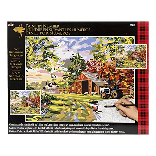 Plaid Creates Plaid Paint by Number Kit, Old Farm House, 22061, Size 16 20-Inch - $19.99