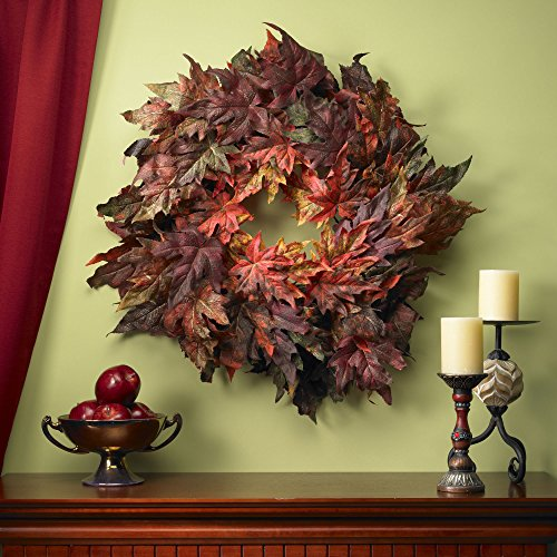 Nearly Natural 4908 Maple Leaf Wreath, 30-Inch, Autumn by Nearly Natural (Image #1)