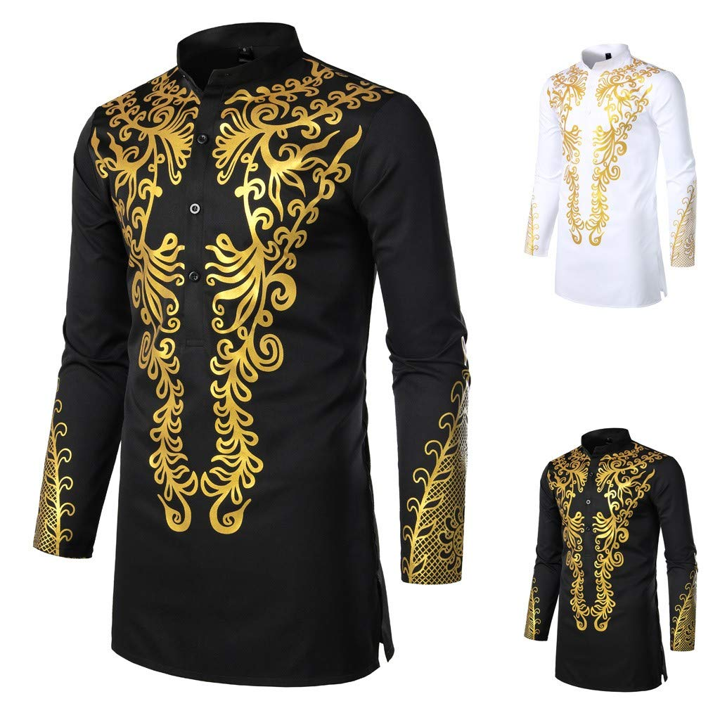 Mens African Dashiki Shirt Metallic Floral Printed Slim Fit Long Sleeve T-Shirts Traditional Ethnic Blouse by sweetnice man clothing (Image #2)