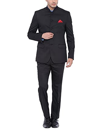 MENS BLACK NEHRU GRANDAD COLLAR SUIT IDEAL FOR WEDDINGS at Amazon ...