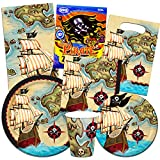 Pirate Party Supplies Super Set (16 Plates,16 Napkins, 12 Cups, Over 50 Stickers)