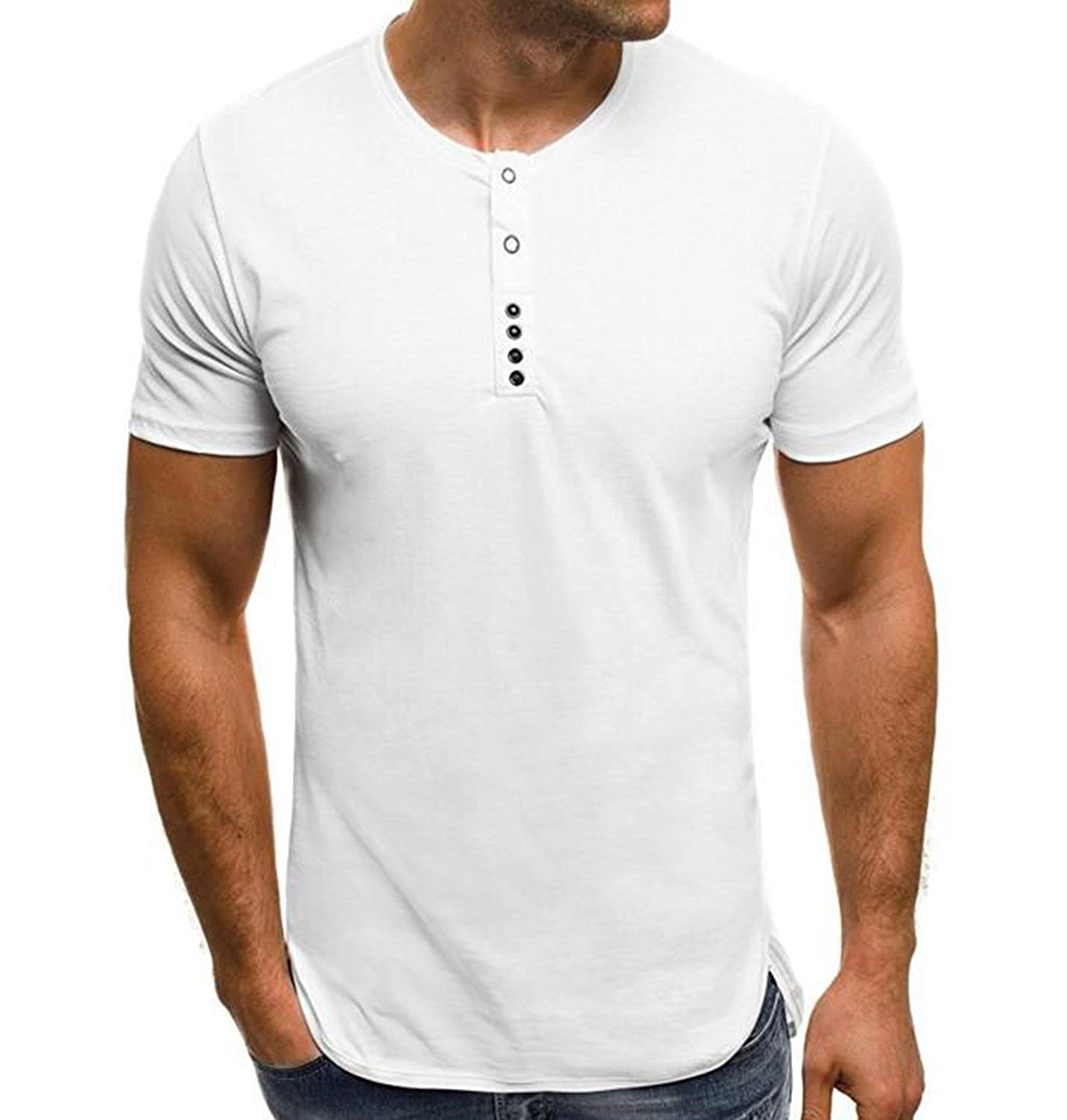 WIFORNT Men's Casual Short Sleeve Henley Slim Fit T-Shirt Button Athletic Tee Tops