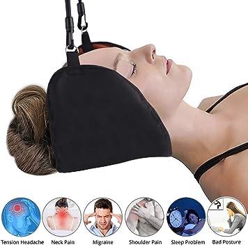 Hamaca para alivio del cuello, hamaca para el dolor de cuello, tracción cervical portátil con soporte para hamaca, soporte para cuello, hombro,
