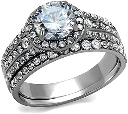 Nationalonlinediscounts Stainless Steel Round Solitaire cz with Accents Wedding Engagement 2 Ring Zirconia Gold Plated Set Size 5,6,7,8,9 /& 10