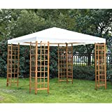 Outsunny 10' x 10' Outdoor Gazebo Sun Shade Shelter with Wooden Lattice - Cream White