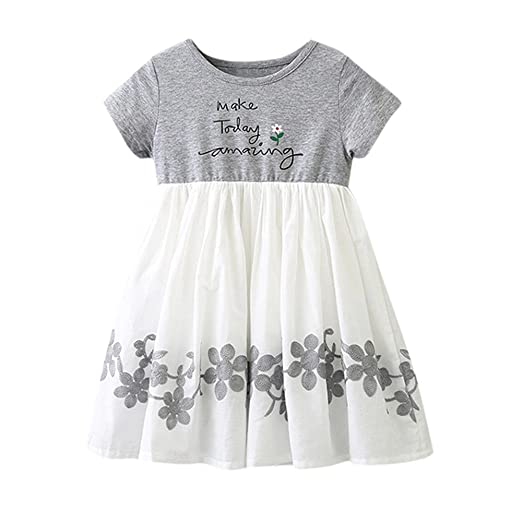 0105fdd1a5b13 Amazon.com: Lurryly Children Infant Girls Letter Embroidery Floral ...