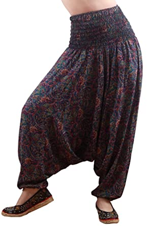 21927a8bfd5 MissShorthair Women s Harem Pants Jumpsuit Loose Fit Hippie Bohemian Plus  Size  Amazon.co.uk  Clothing