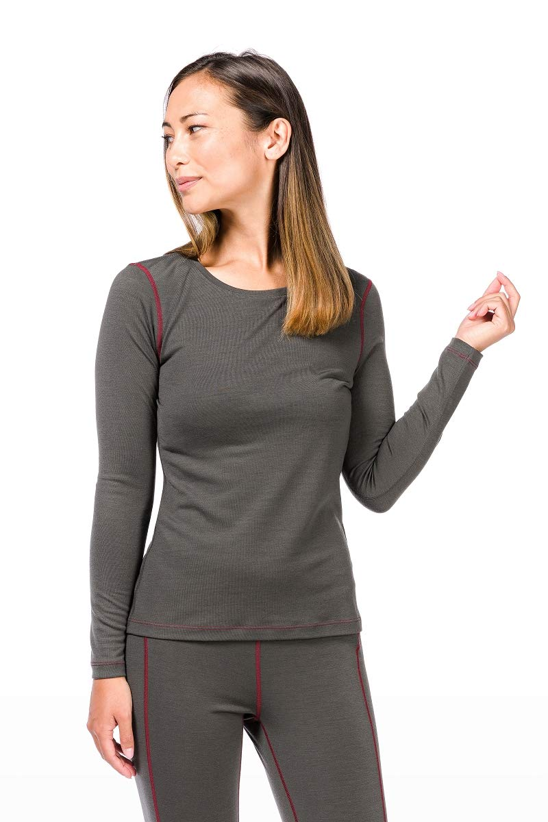 Charcoal Pomegranate XL Super Natural W Base Crew Neck 230 T-Shirt Thermique, Femme M