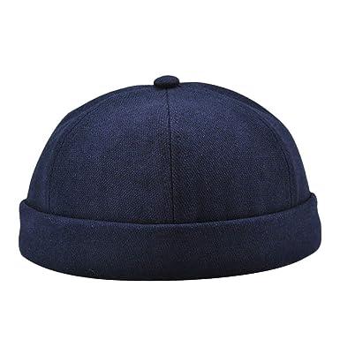 d5ae376c89a Men Women Casual Solid Color Docker Sailor Mechanic Brimless Hat Cap  (Black) at Amazon Women s Clothing store