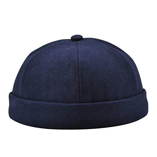 Men Women Solid Color Skull Cap Casual Round Flat Cap Retro Brimless Hat  (Navy) 4da017da7bc