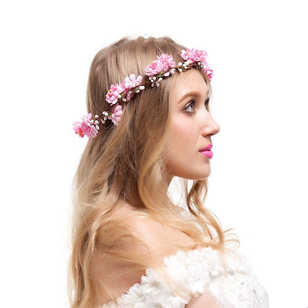 Amazon.com : Bridal Flower Crown Floral Crown Wedding Wreath Boho ...