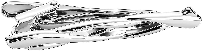 AmDxD Acier Inoxydable Pinces /à Cravate pour Homme Argent Saule Branche Pince a Cravate Homme 5.7x0.6CM