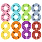 Caydo 16 Pieces 8 Colors Clothing Size Dividers Round Hangers Closet Dividers, Size XXS to XXXL