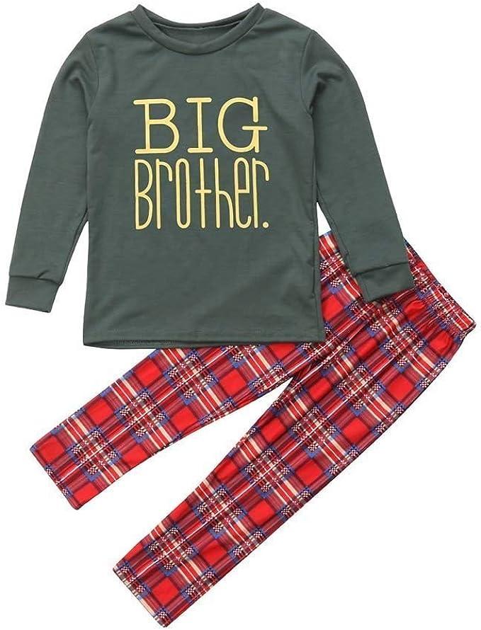 Christmas Children Cartoon Santa Letter Print Top+Pants Family Clothes Pajamas