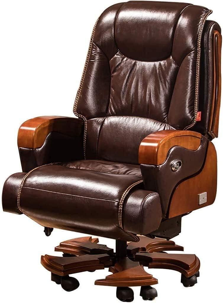 WYKDL Ejecutivo giratoria ajustable silla giratoria de oficina Sillas con apoyabrazos Silla de tareas Soporte lumbar Escritorio Silla ergonómica de la computadora eléctrica reclinable diseño ergonómic
