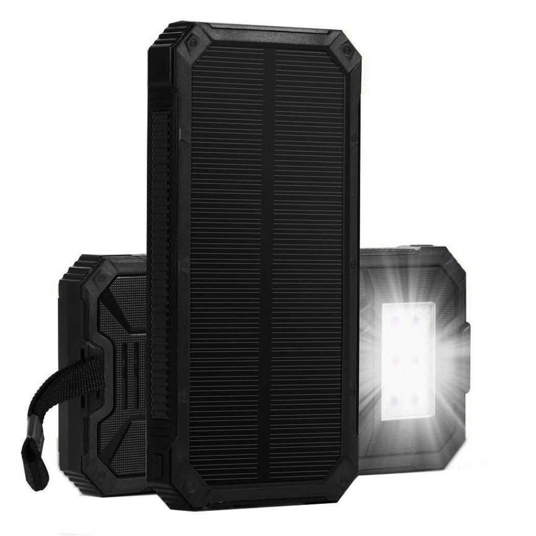 Livoty Portable Solar Power Bank 15000mah External Battery Charger For Mobile Phone (Black)