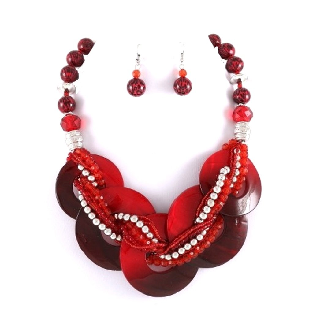 Uniklook, Fashion Jewelry Chunky Statement Red Abalone Shell Braided Strand Silver beads Necklace Earrings Set Jewelry