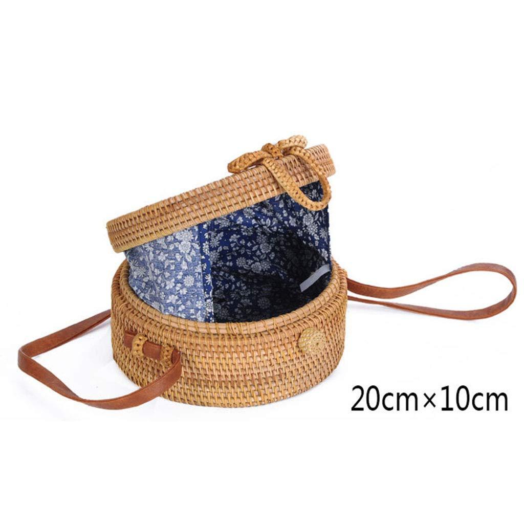 BHM Women's Bag, Rattan Bag - Hollow Sun Flower Slung Travel Bag - Beach Bag - Straw Bag - Hand-Woven Bag,B by BHM (Image #3)